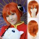 GINTAMA Kagura leader cosplay Halloween Party Comic-Con orange Anime wigs with Hair accessories