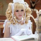 APH Axis Powers Hetalia Hungary Elizabeta cosplay Halloween Comic-Con blond curly pigtails wigs