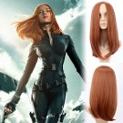 Marvel's Black Widow Natasha cosplay Halloween  Red brown centre parting Straight hair wigs