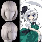 Touhou Project 魂魄 妖夢 Youmu Konpaku  cosplay wig Comic-Con Party white short Anime wigs