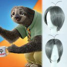 Zootopia sloth flash cosplay wig deep gray centre parting Comic-Con Party silver Anime wigs