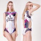 Women's D.VA & Harley Quinn Mixing lovely sexy cosplay one-piece swimsuit Siamese swimwear