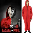 La casa de papel Salvador Dali cosplay suit red Velcro suits and masks Halloween Party Costume