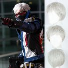 Overwatch ow Soldier: 76 cosplay wig white short Halloween Comic-Con Party Anime wigs