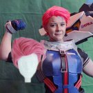 Overwatch ow Zarya cosplay wig pink  Slicked-back Halloween Comic-Con Party Anime wigs