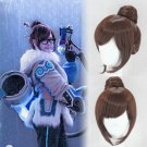 Overwatch ow Mei-Ling Zhou cosplay wig brown Knot Halloween Comic-Con Party Anime wigs