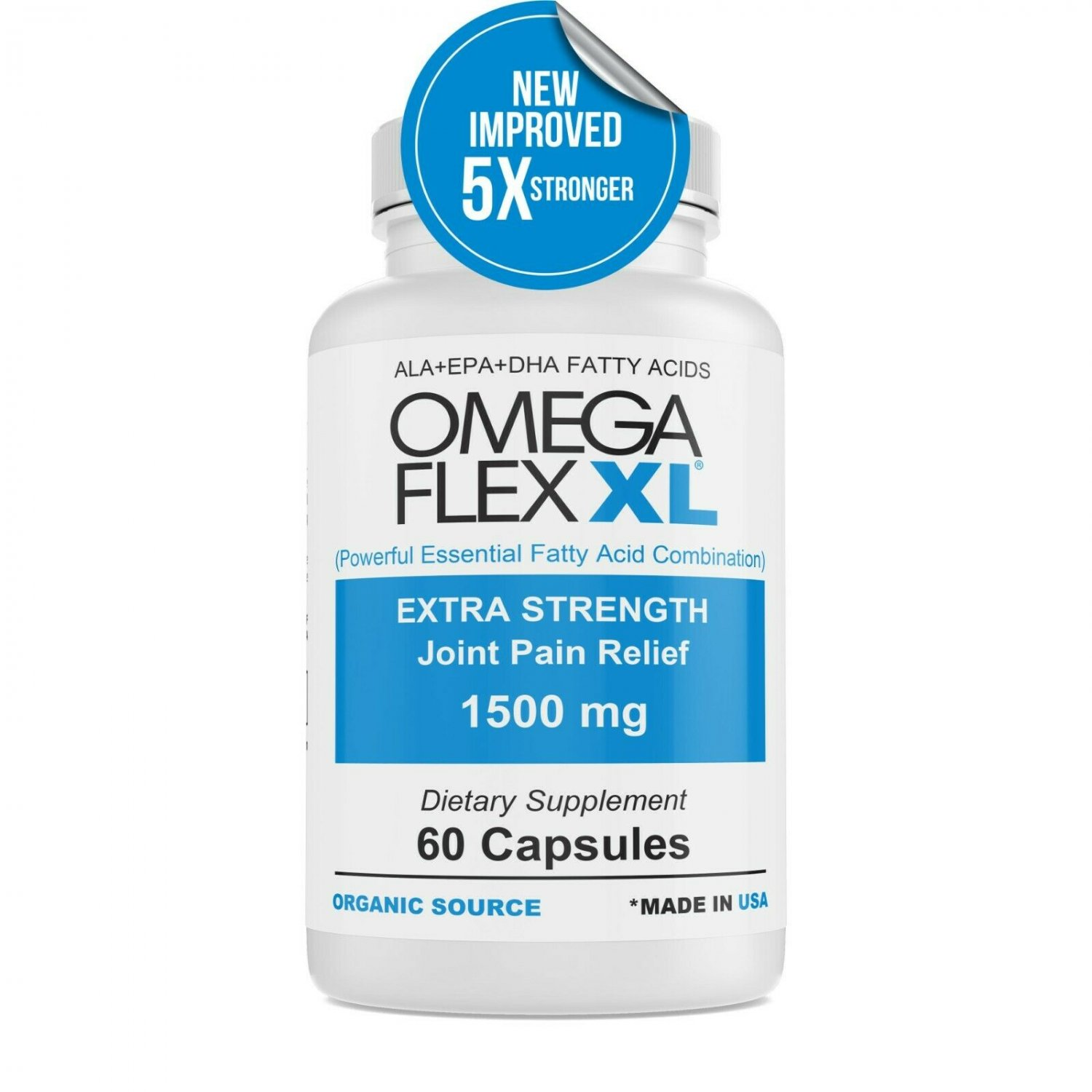 Omega Flex XL NEW IMPROVED Extra Strength Potent Joint Pain Relief 60 ct