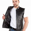 Men's Concealed Carry Leather Motorcycle Biker Club Vest