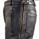 Chap Pants Naked Cowhide Leather with Side Zipper & Snap - Free Shipping