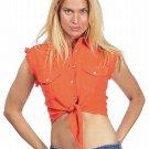 Women's Orange Denim Sleeveless Shirt with Buttons  free shipping