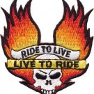 Skull Wings of Flame Patch Ride to Live/Live to Ride Patch