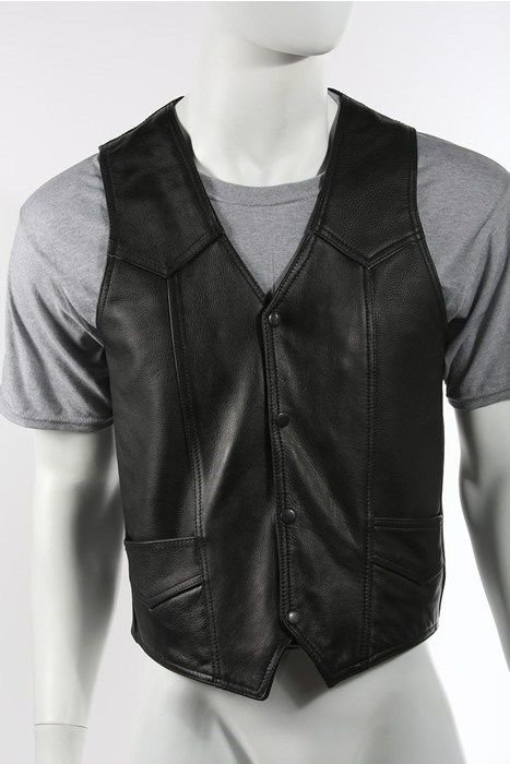Men's Concealed Carry Leather Motorcycle Vest