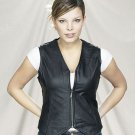 Ladies Leather Motorcycle Vest with Zipper Front - Free Shipping
