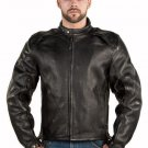 Men's Top Grade Naked Cowhide Leather Racer Motorcycle Jacket