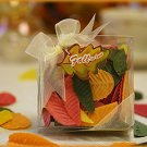 """Fall in Love"" Leaf Soap Petals in Clear Box w/ Ribbon & Tag Wedding Favors"