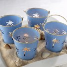 Palm Breezes Beach Pail Tealight Holder (Set of 4) Wedding Favors