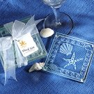 Shell and Starfish Frosted Glass Coasters Wedding Favors
