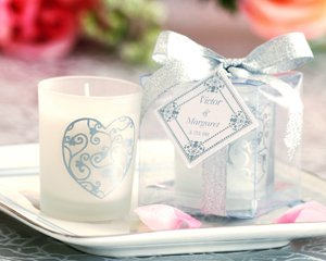 Scented Frosted Glass Intricate Heart Votive - Wedding Favors