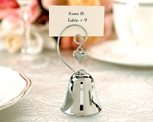 "Set of 4 ""Charming"" Silver Bells with Dangling Heart Charm Wedding Favors"