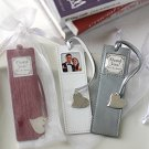 """Memories"" Leather Photo Bookmark Silver Heart Charm Wedding Favors"