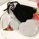LOVE Heart Compact Mirror in Black Velvet Pouch Wedding Favors