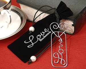 """""""Mark it with Love"""" Silver Silhouette Bookmark in Embroidered Velvet Pouch Wedding Favors"""