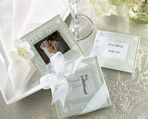 """""""Good Wishes"""" Pearlized Photo Coasters - Set of 2 Wedding Favors"""