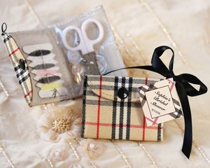 """Sew Perfect"" Plaid Sewing Kit Wedding Favors"