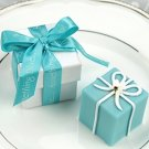 """Something Blue"" Gift Box Candle in Pearlized Box with Satin Printed Ribbon Wedding Favors"