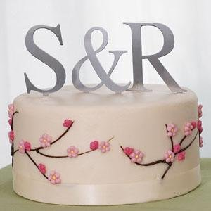 Brushed Silver Monogram Initials Cake Top - Set of 3