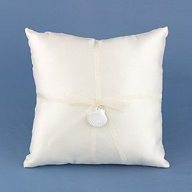 """Seaside Jewels"" Wedding Rings Ceremony Pillow"