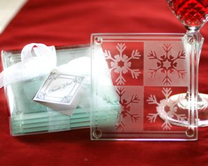 Crystal Snowflake Glass Coasters Wedding Favors