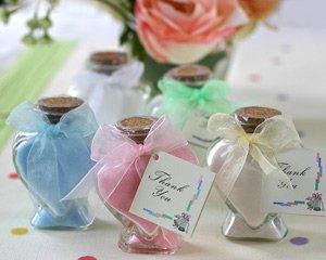 Scented Bath Salts in Glass Heart Bottle Wedding Favors