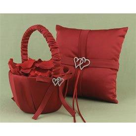 """With All My Heart"" Flower Girl Basket  w/ Swarovski Crystal Heart Brooch"