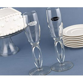 """""""Together at Last"""" Bride and Groom Flutes"""