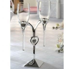 "12"" Silver Heart Champagne Flute Set"