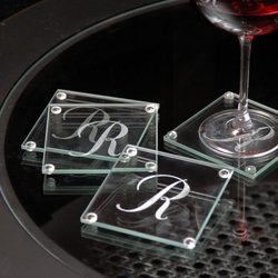 Personalized Glass Coasters (Set of 4) - Wedding Party Gift
