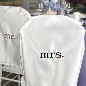 """Together at Last"" Wedding Chair Covers"