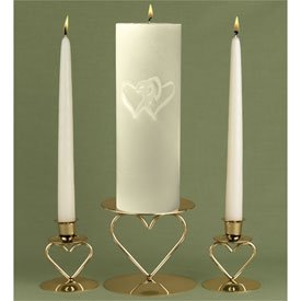 """""""Linked at the Heart"""" Engraved Wedding Unity Candle Set - White or Ivory"""