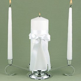 """Yours Truly"" Wedding Unity Candle Set - White or Ivory"