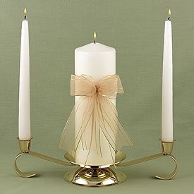 """Heart of Gold"" Ivory Wedding Unity Candle Set"