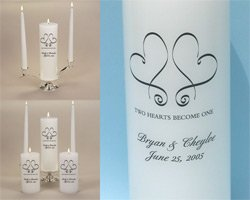"""Whimsical Hearts"" Personalized Wedding Unity Candle Set & Candle Stand - White/Silver or Ivory/Gold"