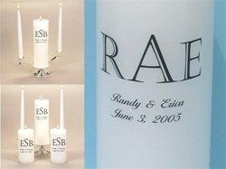 Personalized Monogram Unity Candle Wedding Set & Stand
