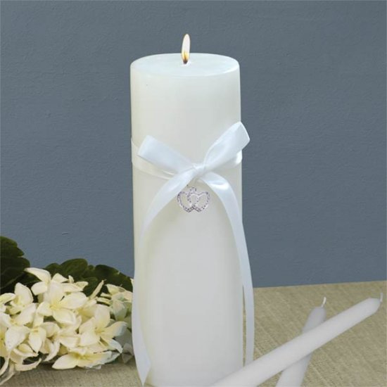 Hanging Charm Wedding Unity Candle Set - Choice of Hearts, Palm Tree, or Butterfly