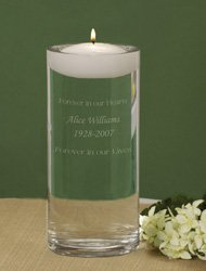 Personalized Engraved Floating Memorial Candle & Vase