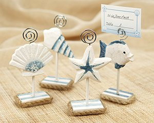 """Set of 4 """"Nantucket Shore"""" Handcrafted Wooden Photo & Placecard Holders Wedding Favors"""