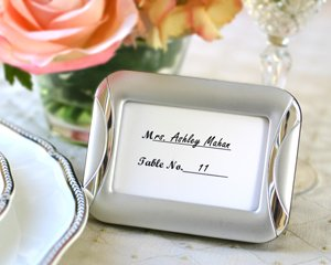 Brushed Metal Photo Frame and Wedding Place Card Holder Favors