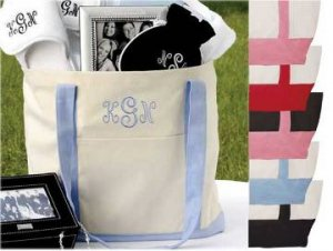 Embroidered Carry All Tote Bag - Personalized Bridesmaid Gift