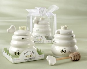 """Meant to Bee"" Ceramic Honey Pot with Wooden Dipper - Wedding Favors"