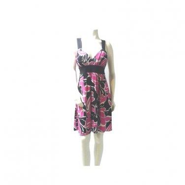 Tropical Print Sun Dress, Hot Pink, Black and White